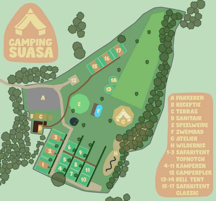 De Camping Suasa plattegrond 2020